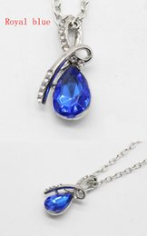 Wholesale United Angels - Europe and the United States (9 colors) new angel tears drip necklace chain pendant fashion crystal necklace hot