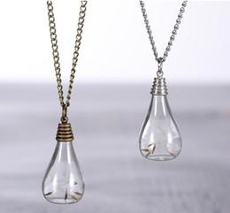 Collana di gioielli di tarassaco, seme di tarassaco reale in vetro con pendente a bulbo, pendente in vetro a forma di pendente con pendente a forma di fiore da