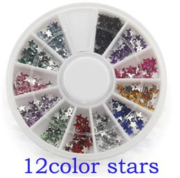 Wholesale Nails Flash - Wholesale-ONE box 12 colors Fashion Nail Decoration Super bright flash STAR shape Rhinestone Nail Powder For Nail Art Tips M662