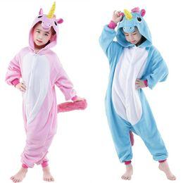 Wholesale pajamas teenage - Blue and Pink Unicorn Cosplay Kigurumis Children Halloween Carnival Mardi Gras Costumes Kids Onesie Pajamas