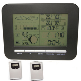 Wholesale Digital Thermometer Alarm Home Clock - Digital Home Wireless Weather Station Alarm Clock With Barometer Thermometer Hygrometer+2 Outdoor Temperature Humidity Sensor Transmitters