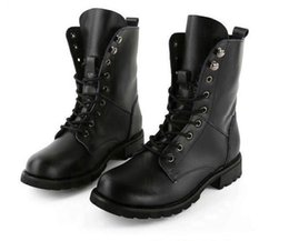 Wholesale Thanksgiving Plus Size Tops - Plus Size Unisex Black Top Cowskin 7 holes Martin boots genuine leather durable short ankle boots