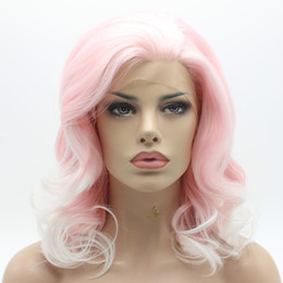 Wholesale Shoulder Length Wigs - Iwona Hair Wavy Shoulder Length Pink Root White Ombre Wig 19#3100B 1001 Half Hand Tied Heat Resistant Synthetic Lace Front Wig