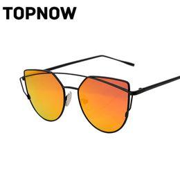 Wholesale Glass Panels Design - Wholesale-Fashion Cat Eye Sunglasses Women Classic Brand Design Vintage Coating Mirror Flat Panel Lens Sun Glasses For Women Gafas Oculos