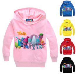 Wholesale Girls Hoodie Tshirt - 2017 New 2-12Year girls hoodies trolls sweatshirt hoodies kids hoodies boys girls clothes long sleeves tshirt children down coat