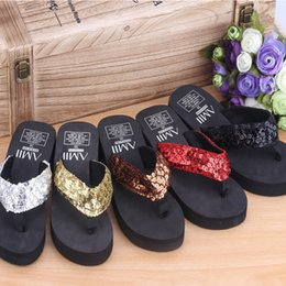 Wholesale Wholesale Women Wedges - 2017 New Summer Fashion Slippers Sandles EVA Beach Shoes Sequins Flip Flops With slope Bohemian Style Shoes