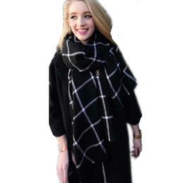 Wholesale Oversized Scarf Pattern - Classic Black White Plaid Oversized Cashmere Feel Scarf Check Pattern Scarves Wrap Shawls Wholesale