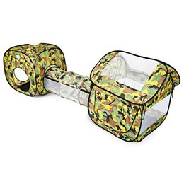 Wholesale Children Garden Play - Wholesale-Portable Children Kids Play Tents Outdoor Garden Folding Toy Tent Foldable Camouflage Pop Up Tunnel Tent Cubby Play House Hut