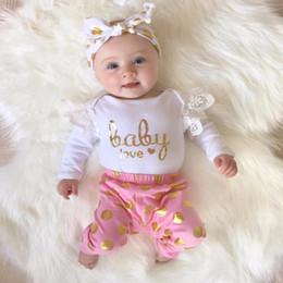 Romper rosa de ouro on-line-Ins infantil bebê rendas romper bebê menina letra do ouro impressão romper + rosa polka dot calças compridas dois conjuntos de peças crianças ternos de algodão