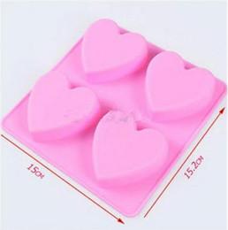 Wholesale Soap Molds Heart Shape - DIY handmade soap mould 4 lattices love heart shape silicone cake mold chocolate molds