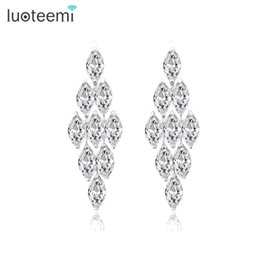 Wholesale European Flower Chandelier - LUOTEEMI Brand High Quality European Long AAA+ CZ Dangle Big Earrings for Wedding and Party Elegant Jewelry White Gold-Color