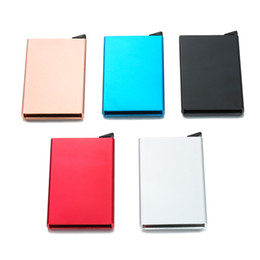 Wholesale Wholesale Acrylic Business Card Holders - Metal Credit Card Holder Automatic Card Sets Business Aluminum Wallet Color Card Sets Wallet Passport Holder Bags