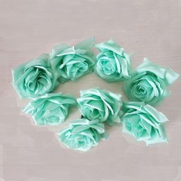 Wholesale Fake Rose Balls - Wholesale- 100PCS Tiffany blue 8CM High quality diy artificial fake Silk Rose flowers head For Wedding Party Flower Ball Ornaments Flowers
