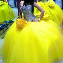 Wholesale Debutante Gowns Tulle - Sexy Yellow Ball Gown Quinceanera Dresses Luxury Crystal Sweetheart Corset Puffy Tulle Big Bow 2017 Plus Size Sweet 16 Debutantes Party Gown