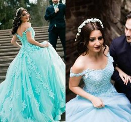 Wholesale Turquoise Coral Prom Dress - 2017 Turquoise Quinceanera Ball Gown Dresses Off Shoulder Lace Appliques Beaded Tulle Sweet 16 Puffy Plus Size Party Prom Evening Gowns