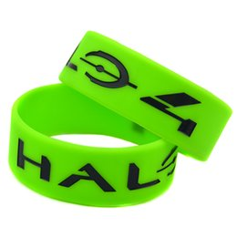 "Wholesale Silicone Bracelet Game Day - 50PCS Lot Halo 4 Silicon Bracelet Exclusive Video Game! 1"" Wide Band, Perfect To Use In Any Benefits Gift For Gamers"