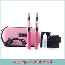 Wholesale E Cigarettes Atomizer Wicks - Ego kit E-cigarette EGO-CE4 atomizer with long wick EGO double kit 2 battery 2 atomizer e electronic cigarettes with ego gift box