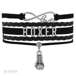 Wholesale Boxer Gloves - (10 PCS Lot) Gifts Bracelet Black For Women Men Leather Custom Bracelet Infinity Love Boxer Boxing Gloves Charm Bracelets Drop Shipping