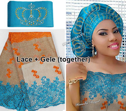 Wholesale Stone Laces Fabric - 5 yards African French lace Tulle Fabric Matching Crown ASO OKE Headtie Full Length Head Gele Headscarf was beset with stones High quality