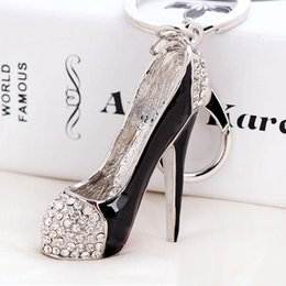 Wholesale Wholesale High Heel Shoe Keyring - 3D Shoes Keys Holder Keychains Novelty High-heel Shoe Key Chains Purse Handbag Charms Rhinestone Decor Sandal Keyring Jewelry Gifts