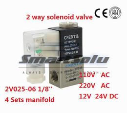 "Wholesale 12v Pneumatic Solenoid - Pneumatic PT1 8 1 8"" bsp Normally Closed 2 2 Way Air Solenoid Valve 2V025-06 DC 12V 24V AC 110V 220V"