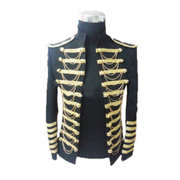 Wholesale Clothes For Nightclub - Wholesale- Blazer Men Paillette Performance Royal Clothing Star Nightclub Suit Stage Costume for Singers Mens Plus Size Blazers Red Black