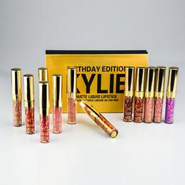 Wholesale Different Coloured Lipsticks - Kylie Jenner Birthday Edition Matte Lipstick Limited Gold Lip Gloss Kylie Jenner Birthday 6 Different Colour Lip Golss