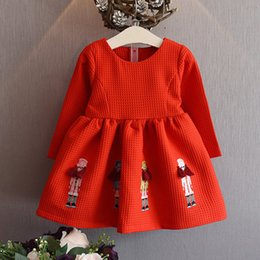 Wholesale Childrens Embroidered Clothing - Sweet Kids Clothing Spring Embroidered Party Evening Dresses For Girls Fashion Childrens Red Princess Dress
