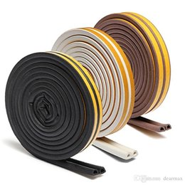 Wholesale Door Window Rubber Seal Strips - 1pc 5m Self Adhesive D Type Doors and for Windows Foam Seal Strip Soundproofing Collision Avoidance Rubber Seal Collision