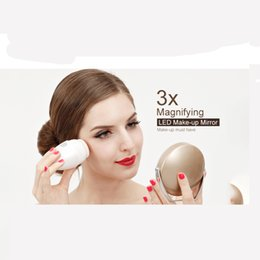 Wholesale Desktop Cosmetic Mirrors - 360 Rotatable Portable Handheld Desktop Circle 3x Magnifying LED Lighted Makeup Mirror Cosmetic Make Up Mirror with Stand Holder