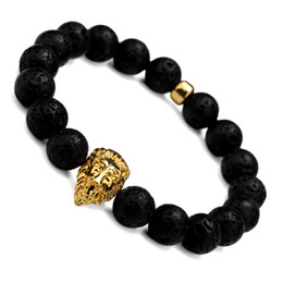 Wholesale Red Beads For Bracelets - New Fashion Lion Head Lava Charm Bracelets Natural Stone Beads Bracelet With Black Lava Stone Popular For Men Women Gift