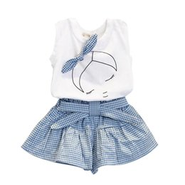 Wholesale Baby Girl Dress Check - Wholesale- Kid Baby Girl Clothes Set Bowknot T-shirt Tops + Plaids&Check Dress Skirt Pants Outfits