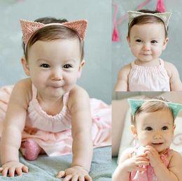 Wholesale Korean White Babies - Baby Girls Triangular Cat Ears Headband Lovely Korean Kids Children Hairband Infant Headwear Hair Band Accessories 3 colors