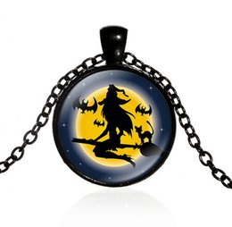 Wholesale Witch Face - Fashion Hallowmas Time gem Pendant Necklace evil witch besom Necklace Halloween decorations Jewelry