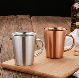 Wholesale Tea Cup Portable - Double Layer 304 Stainless Steel Rose Gold Silver Mugs Anti-hot Portable Travel Outdoor Coffee Mug Tea Cup