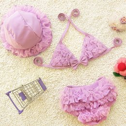Wholesale Children S Lace Tops - Girls Swimwear Baby Lace 3 pieces Suit Hat Top Underwear Kid Clothes Set Swimsuit Bikini Children Beachwear