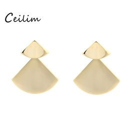 Wholesale Punk Stud Earings - New silver &gold minimalist triangle geometry earings fashion jewelry sector big dangle earrings for women statement punk stud earrings