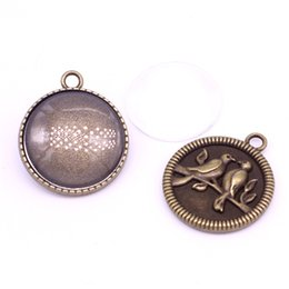 Wholesale antique sweets - Sweet Bell 8 set Antique Bronze Metal Cameo Birds 28*32mm (Fit 25mm Dia) Round Cabochon Settings +Clear Glass Cabochons A4109-1