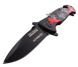 """Wholesale Folding Hunter Knife - MZY 7.5"""" RED ZOMBIE HUNTER SPRING ASSISTED TACTICAL FOLDING KNIFE Blade Pocket Open"""
