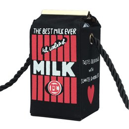 Wholesale Cute Makeup Brand - Wholesale-Free Shipping Cute Stereo Mini Milk Box Makeup Cartoon Bag Women Fashion Letter Canvas Shoulders Bag designer brand Crossbody