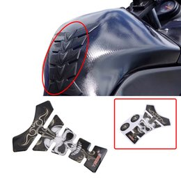 Wholesale Motorcycle Tank Carbon - Hot Motorcycle Accessories 3D Skull Carbon Fiber Tank Decal Gas Oil Fuel Pad Sticker Protector