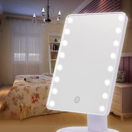 Wholesale Light Make Mirror - led Mirror Light LED Make Up Mirror 360 Degree Rotation Touch Screen Cosmetic Mirror Folding Portable Compact Pocket With 16 22 LED Lights