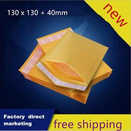 2019 крафт-упаковка Бесплатная доставка желтый пузыря Kraft Mailers Конверты Сумки 13см X 13см + 4см Высокое качество Обертывание Пакет дешево крафт-упаковка