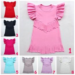 Wholesale European Children Clothes Sizes - Children Cotton Dress Girl Summer Tassel Dress Multi-Color & Size choose Kids Girl Solid Color cloth Soft Clothing