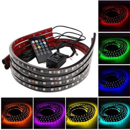 Wholesale Underbody Led Light Kit Strips - 4 in 1 12V Multi Color Music Control RGB LED Strip Light Car Truck Underbody NEON Chassis Light Kit with 20 Keys Remote Controller