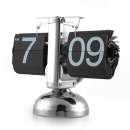 Wholesale Table Clock Stand Flip - Wholesale-Flip Clock Retro Scale Digital Stand Auto Flip Desk Table Clock Reloj Mesa Despertador Flip Internal Gear Operated Quartz Clock