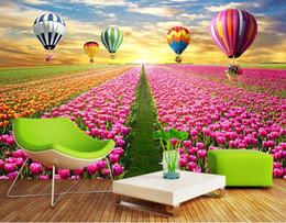 Carta da parati del tulipano online-sfondi 3d personalizzati per carta da parati in tessuto non tessuto Tulip flower sea luxury wallpaper papel de parede 3d europeu