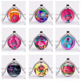 Wholesale Women Carton - Necklace Carton Trolls Poppy Glass Cabochon Necklace Time Gemston dome Pendant Jewelry for Women Kid Gift Silver Bronze Free Shipping