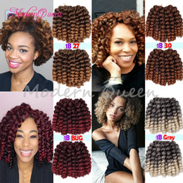 Wholesale Wholesale Janet - 8'' Jumpy Wand Curls Crochet Braiding Hair 22 roots Janet Curly Synthetic Crochet Hair Braids Jamaican Bounce Twist Braid Hair Extension