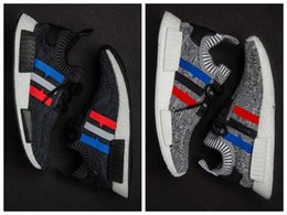 Wholesale Classic Shoes Online - 2017 top quality NMD Runner R1 Primeknit PK Tri-Color Red white blue Men Women Running Shoes Classic sports Sneakers Shoes us 5-10 online